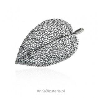 Broszko-wisior srebrny liść oksydowany
