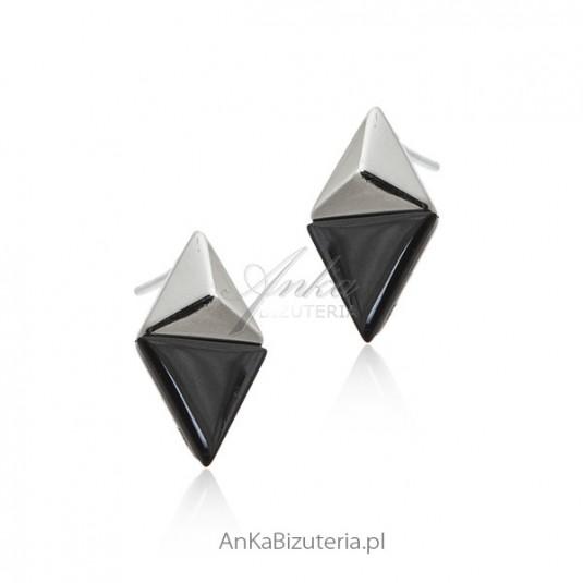 Eleganckie kolczyki srebrne z czarnym onyksem