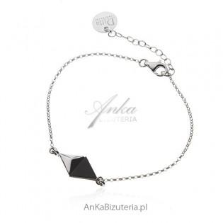 Bransoletka srebrna z czarnym onyksem - Elegancka biżuteria