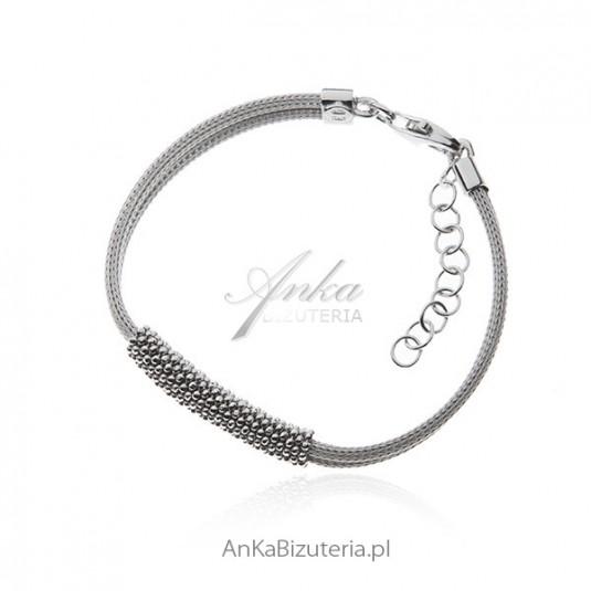 Bransoletka srebrna Calza - z diamentowanymi kuleczkami