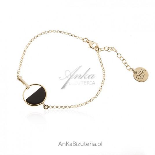 Bransoleta srebrna pozłacana z onyksem - Elegancka biżuteria