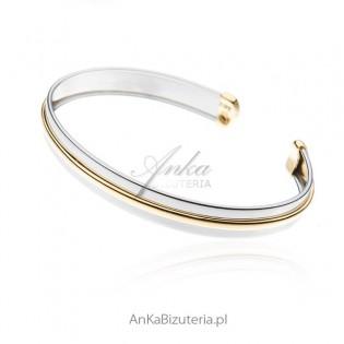 Bransoletka srebrna pozłacana - sztywna