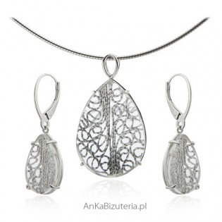 Komplet biżuterii srebrny - Koronka za szkłem