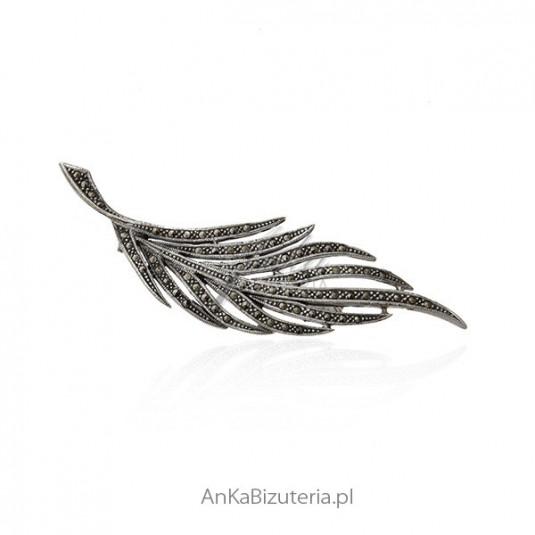 Broszka srebrna z markazytami - Duża srebrna broszka liść