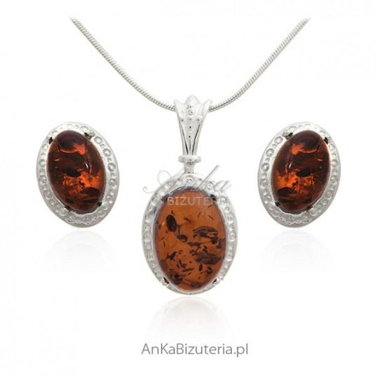 Biżuteria z bursztynem - Komplet biżuterii z naturalnym bursztynem bałtyckim