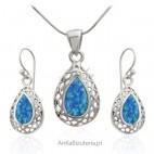 Komplet biżuteria srebrna z niebieskim opalem