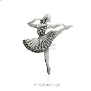 Broszka srebrna Baletnica z marakzytami