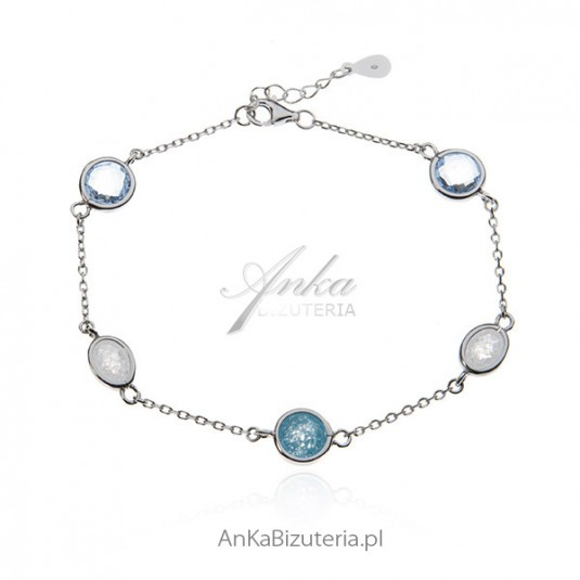 Bransoletka srebrna z cyrkoniami - Biżuteria srebrna online