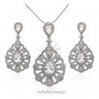 Biżuteria srebrna komplet srebrny z cyrkoniami