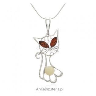Zawieszka srebrna z bursztynem - kotek