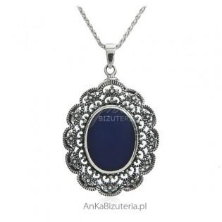 Koronkowa zawieszka srebrna z lapis lazuli
