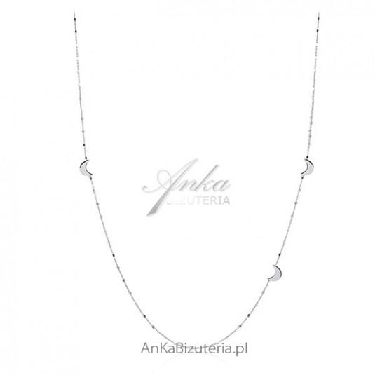 Srebrny naszyjnik rodowany - Księżyce - długi - 80 cm