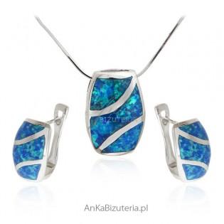 Komplet biżuteria srebrna z opalem
