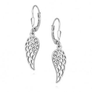 Kolczyki srebrne Skrzydła Anioła z cyrkoniami