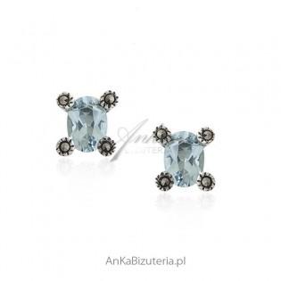 Kolczyki srebrne z niebieskim akwamarynem