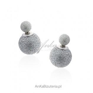 Kolczyki srebrne dwustronne srebrne brokatowe