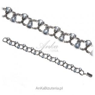 Elegancka bransoletka srebrna z markazytami i akwamarynem