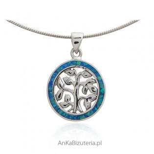 Zawieszka srebrna z niebieskim opalem - małe drzewko szczęścia