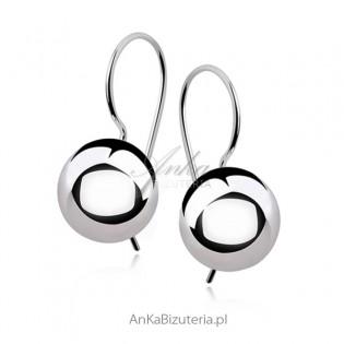 Kolczyki srebrne kulki rodowane 1 cm