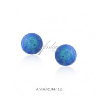 Kolczyki srebrne kulki opal
