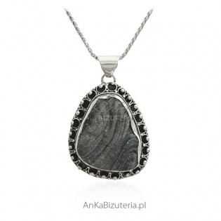 Unikatowa biżuteria srebrna - desert druza chalcedon z Indii