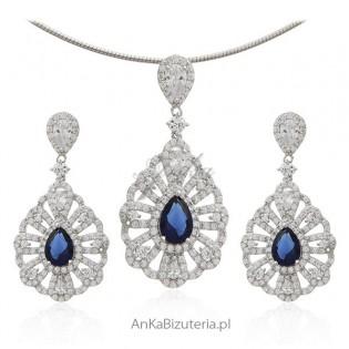 Komplet biżuteria srebrna - piękna biżuteria z mikrocyrkoniami