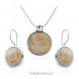 Komplet biżuteria srebrna szkło murano - kość słoniowa
