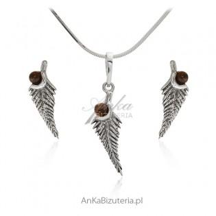 Subtelna biżuteria srebrna komplet z bursztynem