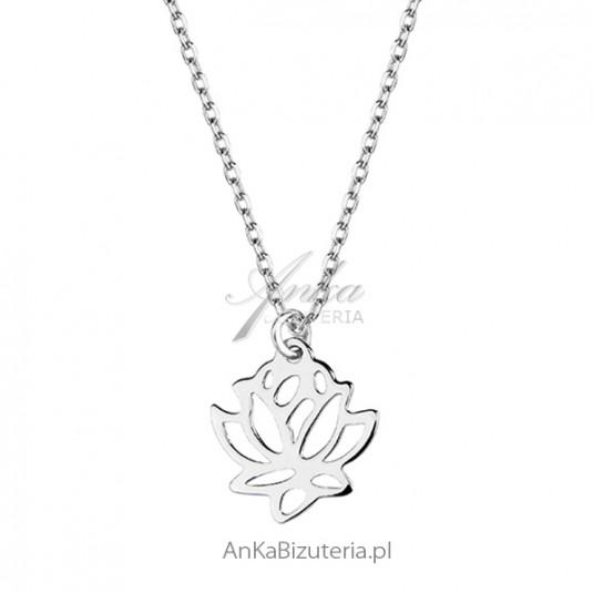Naszyjnik srebrny z kwiatem lotosu