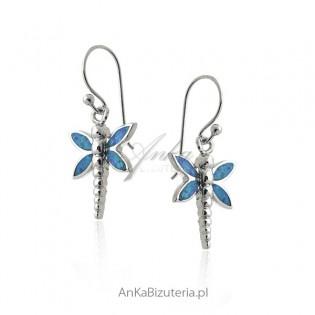 Kolczyki srebrne z niebieskim opalem - ważki