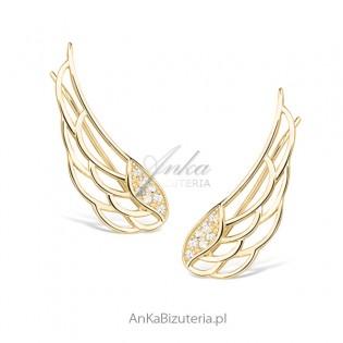 Kolczyki srebrne nausznice - srebrne pozłacane skrzydła anioła