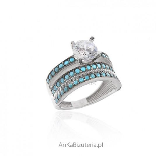 Piękny pierścionek srebrny z turkusami i cyrkoniami