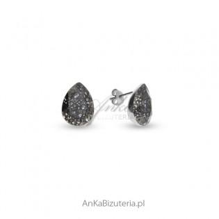 Kolczyki srebrne Swarovski - łezki Black Patina