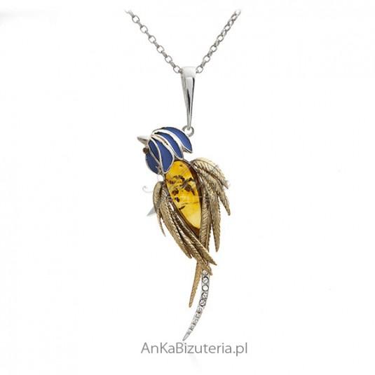 Zawieszka srebrna z bursztynem - papuga Ara
