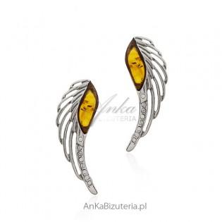 Duże skrzydła z bursztynem - Kolczyki srebrne z bursztynem i kryształkami Swarovski