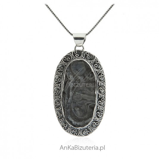 Unikat - zawieszka srebrna druza chalcedon - oryginalna biżuteria srebrna