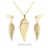 Komplet biżuteria srebrna pozłacana Skrzydła Anioła