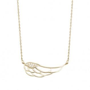 Naszyjnik srebrny pozłacany z cyrkoniami - skrzydło anioła