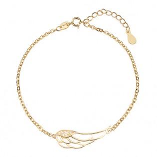 Bransoletka srebrna pozłacana z cyrkoniami - skrzydło anioła
