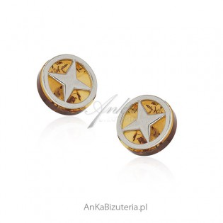Kolczyki srebrne z bursztynem - oryginalna biżuteria z bursztynem