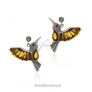 Kolczyki srebrne z bursztynem Kolibry