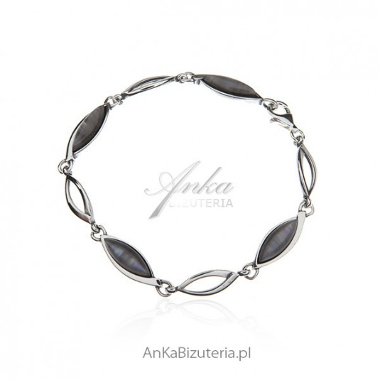 Bransoletka srebrna z szarym uleksytem - Biżuteria srebrna