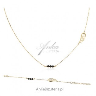 Komplet biżuteria srebrna skrzydełka z czarnymi onyksami