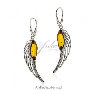 Kolczyki srebrne skrzydła z bursztynem i cyrkoniami
