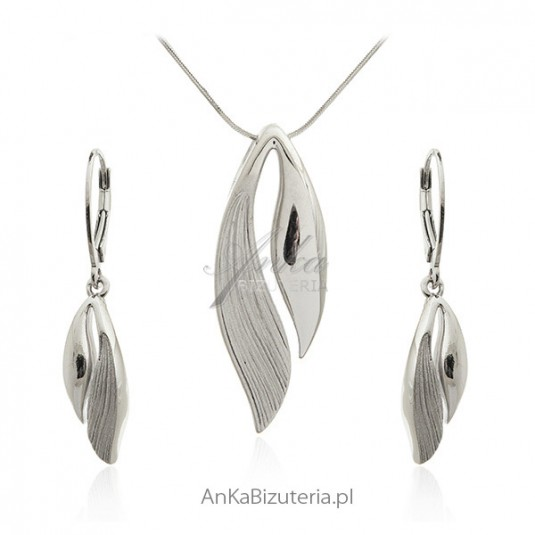 Komplet biżuteria srebrna rodowana i satynowana