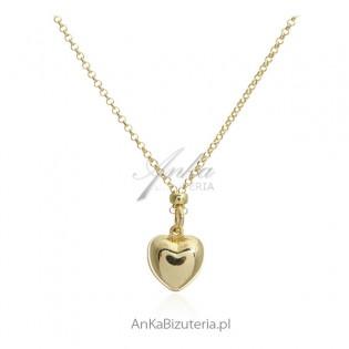 Naszyjnik srebrny pozłacany z serduszkiem - biżuteria włoska