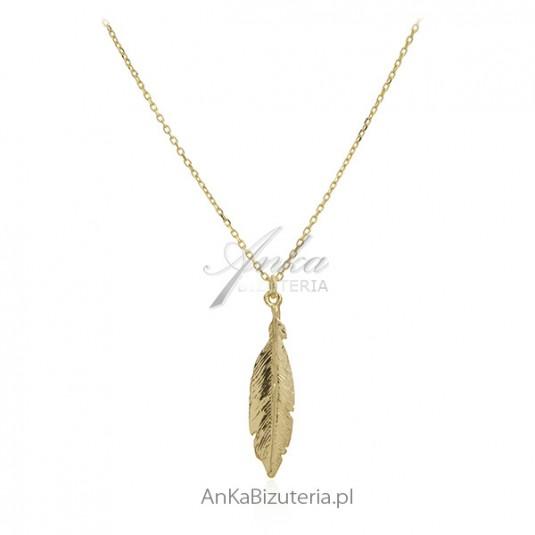 Naszyjnik srebrny pozłacany -złote piórko