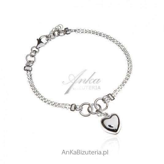 Bransoletka srebrna z dużym sercem - Biżuteria włoska