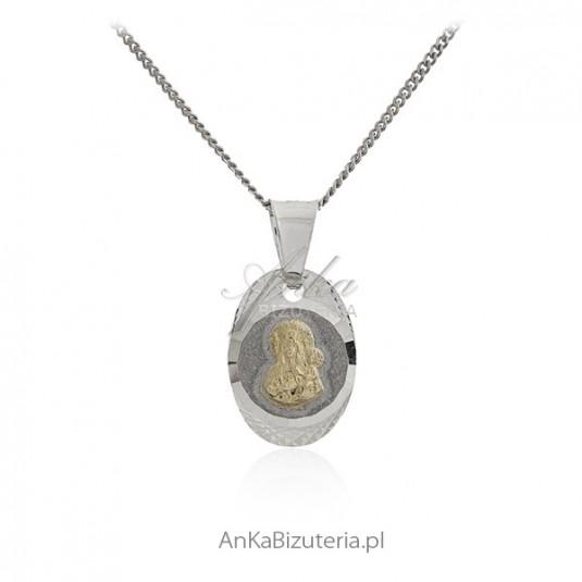 Medalik srebrny diamentowany i pozłacany Matka Boska Częstochowska