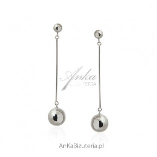 Kolczyki srebrne rodowane wiszące kulki - Włoski szyk